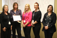 From Left:  Shelley Rogers – Program Coordinator, CDFNC, Jill Gridley - CVS District Manager, Shasta Spencer, Youth Outreach Coordinator, Melissa Kelley – Prevention Advocate, and Shannon Glaz - Nevada County Public Health